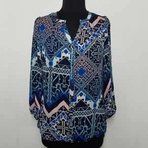 Anthro Leifsdottier Silk Geometric Top Long Sleeve